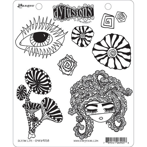 Ranger Ink - Dylusions Stamps - Unmounted Rubber Stamps - Ocean Life