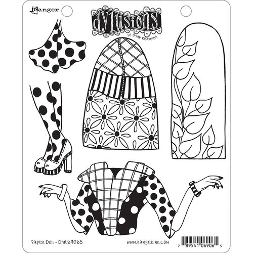 Ranger Ink - Dylusions Stamps - Unmounted Rubber Stamps - Paper Doll