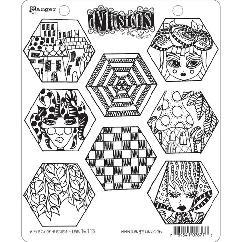 Ranger Ink - Dylusions Stamps - Unmounted Rubber Stamps - A Heck of Hexies