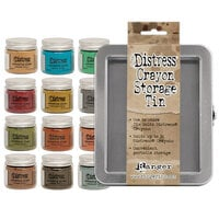 Ranger Ink - Tim Holtz - Distress Embossing Glaze - Bundle One with Distress Crayons Storage Tin