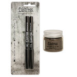 Ranger Ink - Tim Holtz - Distress Embossing Glaze and Embossing Pen Set - Walnut Stain