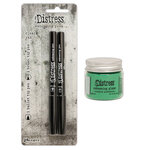 Ranger Ink - Tim Holtz - Distress Embossing Glaze and Embossing Pen Set - Cracked Pistachio