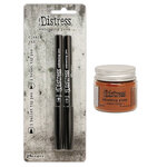 Ranger Ink - Tim Holtz - Distress Embossing Glaze and Embossing Pen Set - Rusty Hinge