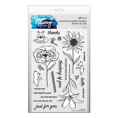 Ranger Ink - Simon Hurley - Clear Photopolymer Stamps - Flower Picking Friends