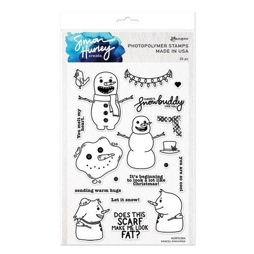 Ranger Ink - Simon Hurley - Clear Photopolymer Stamps - Snazzy Snowmen