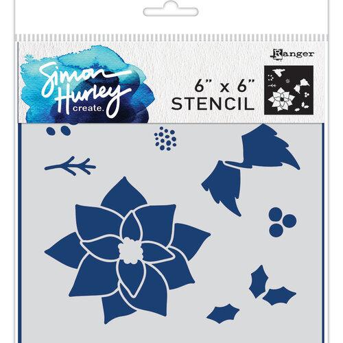 Ranger Ink - Simon Hurley - 6 x 6 Stencils - Jumbo Poinsettia Maker
