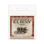 Ranger Ink - ICE Resin - Findings - End Caps and Jump Rings - Antique Silver - 7mm