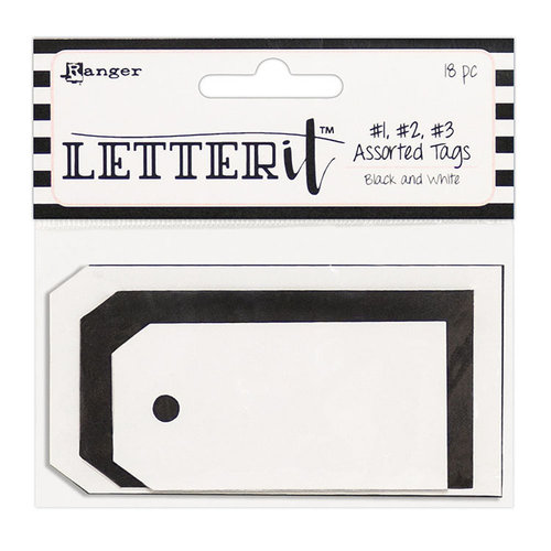 Ranger Ink - Letter It Collection - Tag Assortment - Black and White - 18 Pieces