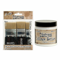 Ranger Ink - Tim Holtz - Distress Collage Brushes and Matte Medium - 4 Pack Set