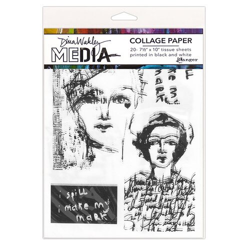 Ranger Ink - Dina Wakley Media - Collage Paper - 7.5 x 10 - Vintage and Sketches - 20 Pack