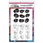 Ranger Ink - Dina Wakley Media - Unmounted Rubber Stamps - Funky Faces Backgrounds