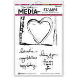 Ranger Ink - Dina Wakley Media - Unmounted Rubber Stamps - Handwritten Heart Collage