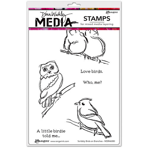 Ranger Ink - Dina Wakley Media - Unmounted Rubber Stamps - Scribbly Birds on Branches