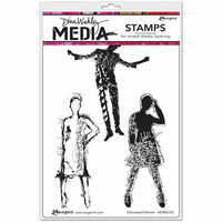 Ranger Ink - Dina Wakley Media - Unmounted Rubber Stamps - Silhouetted Women