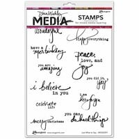 Ranger Ink - Dina Wakley Media - Unmounted Rubber Stamps - Just What To Say