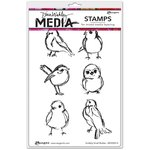 Ranger Ink - Dina Wakley Media - Unmounted Rubber Stamps - Scribbly Small Birdies