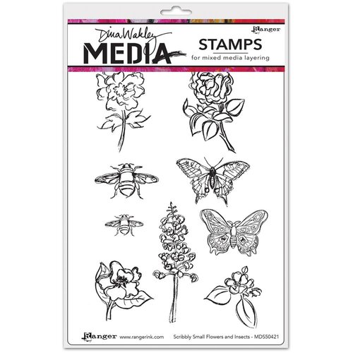 Ranger Ink - Dina Wakley Media - Unmounted Rubber Stamps - Scribbly Flowers and Insects