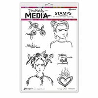 Ranger Ink - Dina Wakley Media - Unmounted Rubber Stamps - Homage to Frida