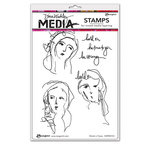 Ranger Ink - Dina Wakley Media - Unmounted Rubber Stamps - Words in Faces