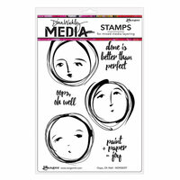 Ranger Ink - Dina Wakley Media - Unmounted Rubber Stamps - Oops, Oh Well