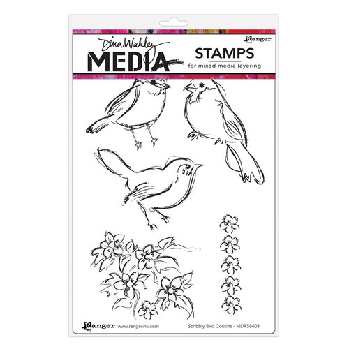 Ranger Ink - Dina Wakley Media - Unmounted Rubber Stamps - Scribbly Bird Cousins