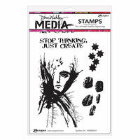 Ranger Ink - Dina Wakley Media - Unmounted Rubber Stamps - Splatter Girl