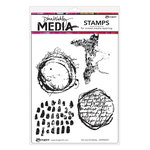 Ranger Ink - Dina Wakley Media - Unmounted Rubber Stamps - Text and Scribbles