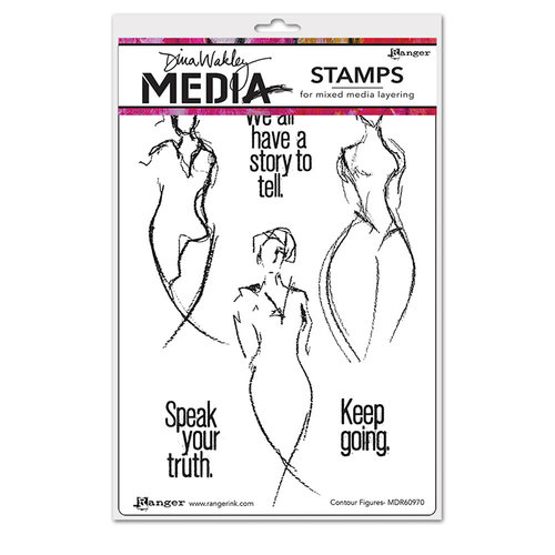 Ranger Ink - Dina Wakley Media - Mounted Rubber Stamps - Contour Figures