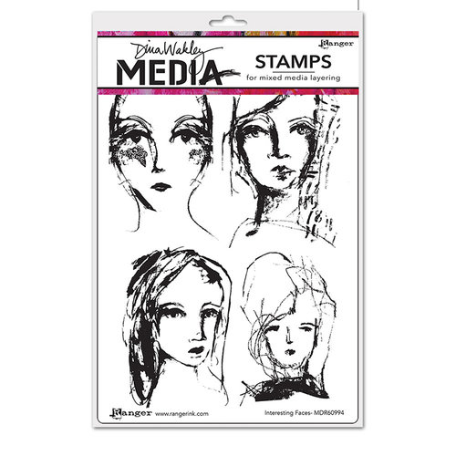 Ranger Ink - Dina Wakley Media - Mounted Rubber Stamps - Interesting Faces