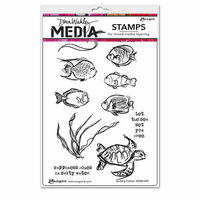 Ranger Ink - Dina Wakley Media - Mounted Rubber Stamps - Scribbly Fishies