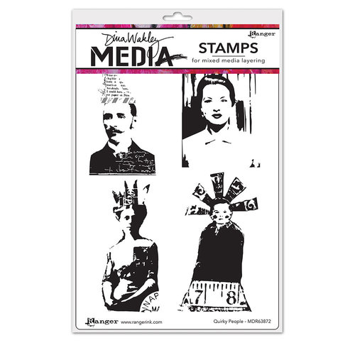 Ranger Ink - Dina Wakley Media - Unmounted Rubber Stamps - Quirky People
