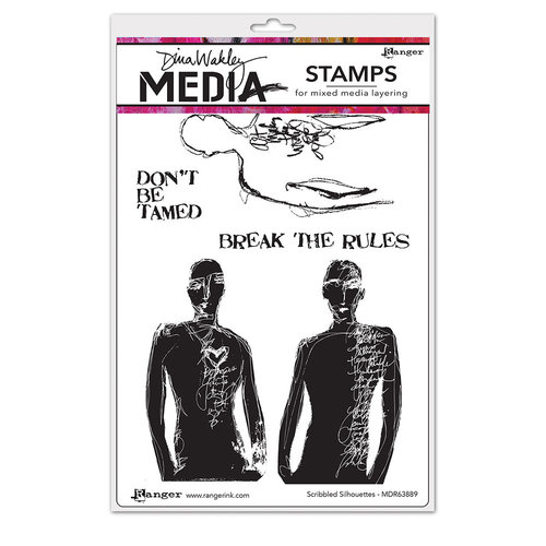 Ranger Ink - Dina Wakley Media - Unmounted Rubber Stamps - Scribbled Silhouettes