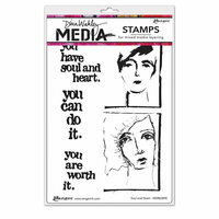 Ranger Ink - Dina Wakley Media - Unmounted Rubber Stamps - Soul and Heart