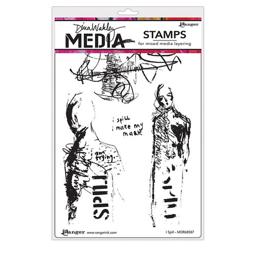 Ranger Ink - Dina Wakley Media - Unmounted Rubber Stamps - I Spill