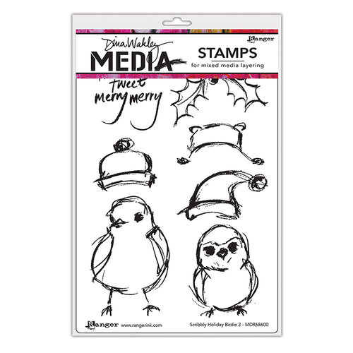 Ranger Ink - Christmas - Dina Wakley Media - Unmounted Rubber Stamps - Scribbly Holiday Birdie 2