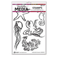 Ranger Ink - Dina Wakley Media - Cling Mounted Rubber Stamps - Scribbly Reef Creatures