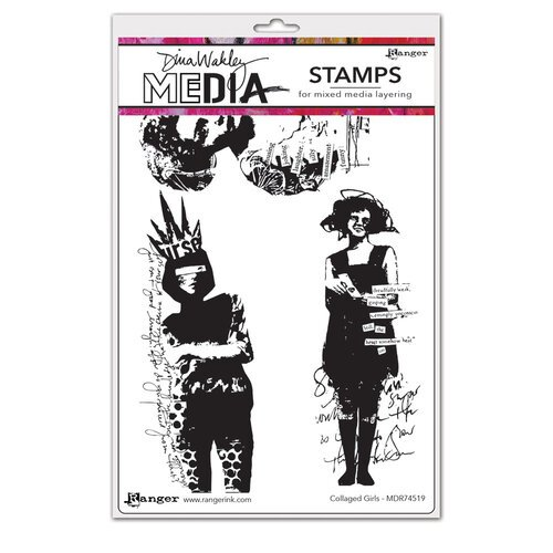 Ranger Ink - Dina Wakley Media - Cling Mounted Rubber Stamps - Collaged Girls