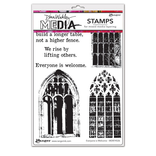 Ranger Ink - Dina Wakley Media - Cling Mounted Rubber Stamps - Everyone Is Welcome
