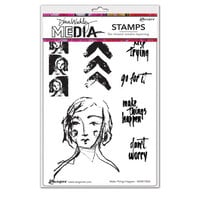 Ranger Ink - Dina Wakley Media - Unmounted Rubber Stamps - Make Things Happen
