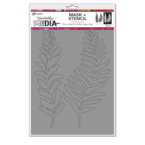Ranger Ink - Dina Wakley Media - Stencil and Mask - Curly Frond
