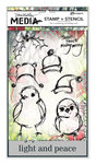 Ranger Ink - Dina Wakley Media - Christmas - Unmounted Rubber Stamps and Stencil Set - Scribbly Holiday Birdies