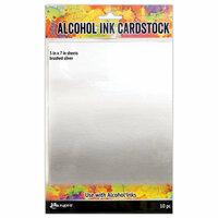 Ranger Ink - Tim Holtz - Alcohol Ink Cardstock - Brushed Silver - 10 Pack