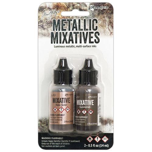 Ranger Ink - Tim Holtz - Adirondack Metallic Mixatives - 2 Pack - Rose Gold and Gunmetal