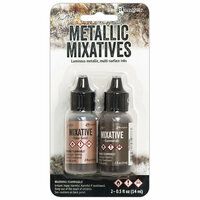 Ranger Ink - Tim Holtz - Adirondack Metallic Mixatives - 2 Pack - Rose Gold and Gunmetal