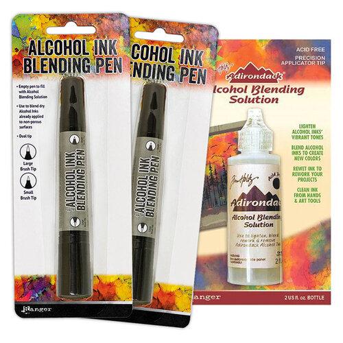 Ranger Ink - Tim Holtz - Two Alcohol Ink Blending Pens and Blending Solution - 2 oz Bundle