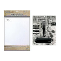 Ranger Ink - Tim Holtz - 3.31 Inch Brayer and Distress Woodgrain Paper - 8.5 x 11 Bundle