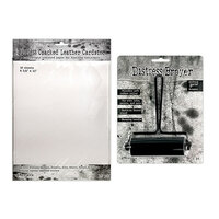 Ranger Ink - Tim Holtz - 3.31 Inch Brayer and Distress Cracked Leather Paper - 8.5 x 11 Bundle