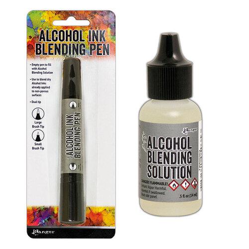 Ranger Ink - Tim Holtz - Alcohol Ink Blending Pen and Blending Solution - .5 oz Bundle