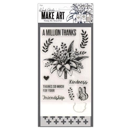 Ranger Ink - Wendy Vecchi - Make Art - Stamp, Die, and Stencil Set - A Million Thanks