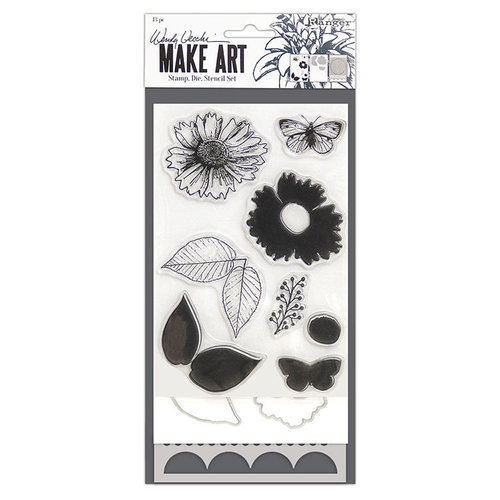 Ranger Ink - Wendy Vecchi - Make Art - Stamp, Die, and Stencil Set - Country Flowers